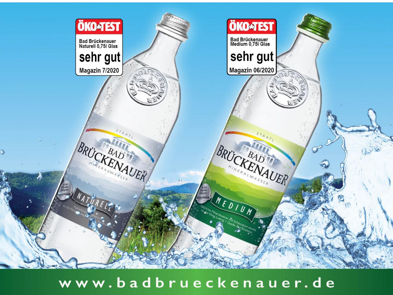 ÖkoTest Sehr gut für Bad Brückenauer Mineralwasser Medium und Naturell